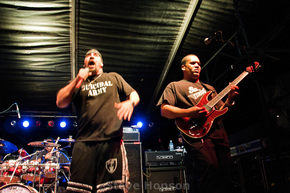 """Suicidal Tendencies, Fun Fun Fun Fest, Austin, Texas, November 7, 2010. Suicidal Tendencies was founded in Venice, California, in 1981 by singer Mike Muir. The band is credited as one of """"the fathers of crossover thrash""""."""