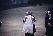 President Jimmy Carter and Egypt president Anwar Sadat make statements and embrace on the South Lawn of the White House after the Middle East Peace talks in September 1978<br /> Photo by Dennis Brack
