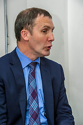 Pictured: Michael Matheson<br /> Justice Secretary Michael Matheson was in Edinburgh today to announce a GBP13.8 million three-year funding deal for Victim Support Scotland. Mr Matheson was joined by charity chief executive Kate Wallace and Bea Jones, mother of Moira Jones and founder of The Moira Fund who has been campaigning for this service. <br /> <br /> Ger Harley | EEm 19 April 2018
