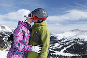 SHOT 2/14/11 12:44:49 PM - Loveland Ski Area in Colorado hosted the 20th Annual Marry Me & Ski Free Mountaintop Matrimony on Valentine's Day Monday, February 14th. The mass wedding ceremony was held at noon at 12,050 feet outside of the Ptarmigan Roost Cabin at Loveland. More than 75 couples were pre-registered to get married or renew their vows high on The Continental Divide in this yearly Loveland tradition.  Following the ceremony couples were invited to a casual reception complete with a champagne toast, wedding cake and music.  (Photo by Marc Piscotty / © 2010)