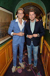 Left to right, OLLIE PROUDLOCK and STEVIE JOHNSON at a party for the UK launch of Mr Boho held at Annabel's, 44 Berkeley Square, London on 19th May 2016.