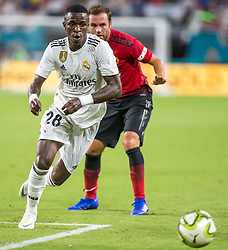 July 31, 2018 - Miami Gardens, FL, USA - Real Madrid forward Vinicius Junior (28) drives the ball inside the Manchester United box during the first half during International Champions Cup action at Hard Rock Stadium in Miami Gardens, Fla., on Tuesday, July 31, 2018. Manchester United won, 2-1. (Credit Image: © Sam Navarro/TNS via ZUMA Wire)