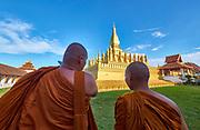 Laos, Vientiane. Pha That Luang golden stupa.
