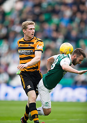 Alloa Athletic's Colin Hamilton brought down Hibernian's James Keating for a first half penalty claim. <br /> Hibernian 3 v 0 Alloa Athletic, Scottish Championship game played 12/9/2015 at Easter Road.