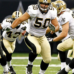 August 12, 2011; New Orleans, LA, USA; New Orleans Saints center Olin Kreutz (50) during the first half of a preseason game against the San Francisco 49ers at the Louisiana Superdome. Mandatory Credit: Derick E. Hingle