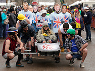 "NEDERLAND, CO - MARCH 10: A ""corpse"" is carried in the Frozen Dead Guy Days coffin parade at the event on March 10, 2018 in Nederland, Colorado. The Frozen Dead Guy Days festival is in honor of Bredo Morstol, who is frozen on dry ice and housed in a shed above the town. (Photo by Rick T. Wilking/Getty Images)"