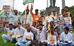 August 5, 2017 - Allahabad, Uttar Pradesh, India - Allahabad: Congress workers show letter written by their blood during a protest against Prime minister Narendra Modi over attack on congress vice president Rahul gandhi in Gujarat, in allahabad on 05-08-2017. photo by prabhat kumar verma (Credit Image: © Prabhat Kumar Verma via ZUMA Wire)