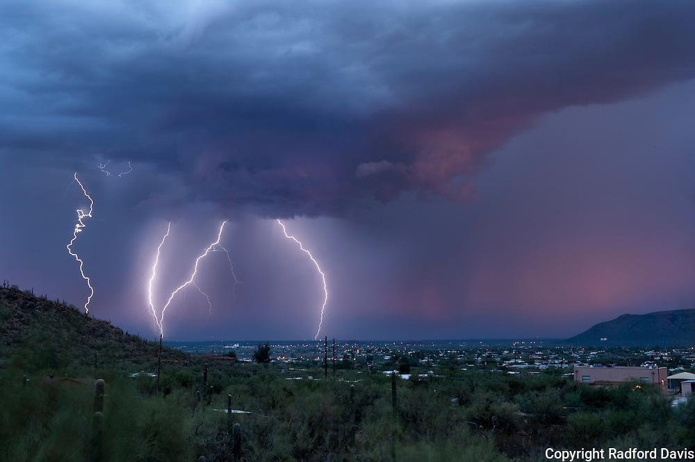 Lightning strikes in Tucson, Arizona.