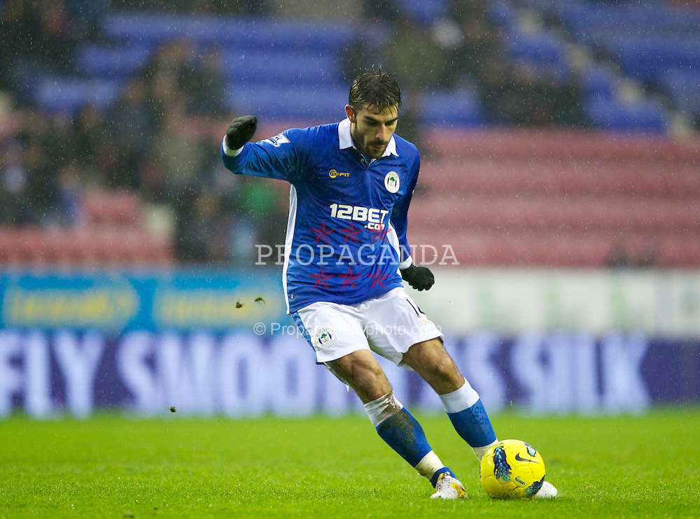 WIGAN, ENGLAND - Saturday, February 4, 2012: Wigan Athletic's Jordi Gomez during the Premiership match against Everton at the JJB Stadium. (Pic by Vegard Grott/Propaganda)