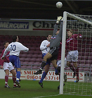 © Peter Spurrier/Sportsbeat Images <br />Tel + 441494783165 email images@sbimages.co.uk<br />06/12/2003 - Photo  Peter Spurrier<br />FA Cup 2nd Rd - Northampton v Weston S Mare<br />Goal mouth action as Weston attack Northamptons goal