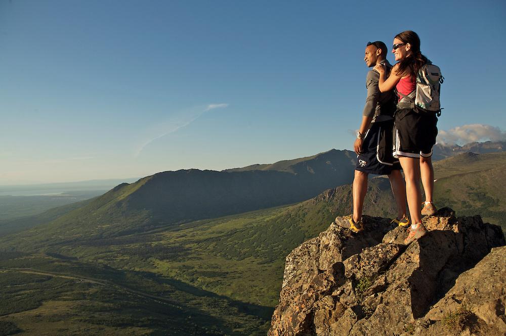 Friends on Flat Top Mountain trail, Anchorage, Alaska