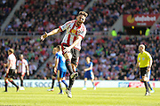 Sunderland forward Fabio Borini (9)  shows his frustration during the Barclays Premier League match between Sunderland and Leicester City at the Stadium Of Light, Sunderland, England on 10 April 2016. Photo by Simon Davies.