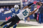 INDIANAPOLIS, IN - OCTOBER 4: Allen Robinson #15 of the Jacksonville Jaguars reaches for a pass as Darius Butler #20 of the Indianapolis Colts watches at Lucas Oil Stadium on October 4, 2015 in Indianapolis, Indiana. (Photo by Michael Hickey/Getty Images) *** Local Caption *** Allen Robinson; Darius Butler