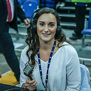 London,England,UK. 14th May 2017. Helen Naylor a commentary at the BBL Play-Off Finals also fundraising for Hoops Aid 2017 but also a major fundraising opportunity for the Sports Traider Charity at London's O2 Arena, UK. by See Li