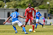 Eastleigh Defender, Gavin Hoyte (20) and Wrexham AFC Forward, Ntumba Massanka (18) during the Vanarama National League match between Eastleigh and Wrexham FC at Arena Stadium, Eastleigh, United Kingdom on 29 April 2017. Photo by Adam Rivers.