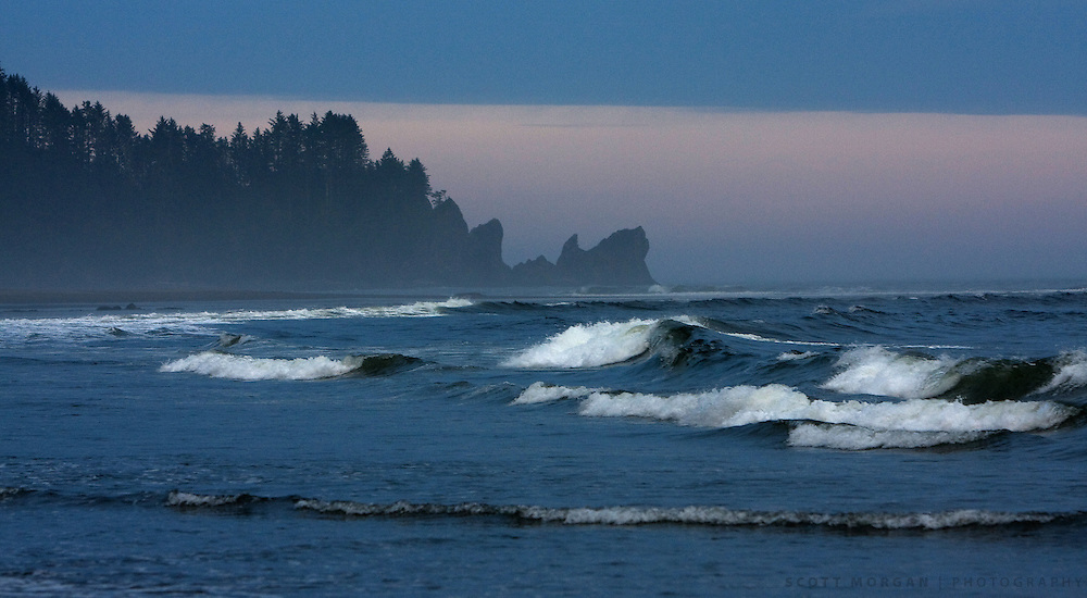 Waves crash at Second Beach in La Push, Washington.