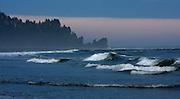 Waves crash at Second Beach in La Push, Washington.