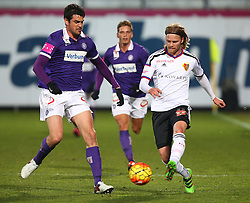 29.01.2016, Generali Arena, Wien, AUT, Testspiel, FK Austria Wien vs FC Basel, im Bild Vanche Shikov (FK Austria Wien) und Birkir Bjarnason (FC Basel) // during a preperation Football Match between FK Austria Wien vs FC Basel at the Generali Arena in Vienna, Austria on 2016/01/29. EXPA Pictures © 2016, PhotoCredit: EXPA/ Thomas Haumer
