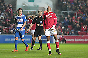 Bristol City forward Jonathan Kodjia looks to the heavens during the Sky Bet Championship match between Bristol City and Queens Park Rangers at Ashton Gate, Bristol, England on 19 December 2015. Photo by Jemma Phillips.