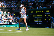 LONDON, ENGLAND - JULY 03: GARBINE MUGURUZA (ESP) during day two match of Wimbledon on July 3, 2018, at All England Lawn Tennis and Croquet Club in London, England. (Photo by Chaz Niell/Icon Sportswire)