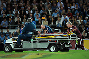 July 6th 2011: Johnathan Thurston of the Maroons is taken from the field after a knee injury during game 3 of the 2011 State of Origin series at Suncorp Stadium in Brisbane, QLD, Australia on July 6, 2011. Photo by Matt Roberts / mattrimages.com.au / QRL