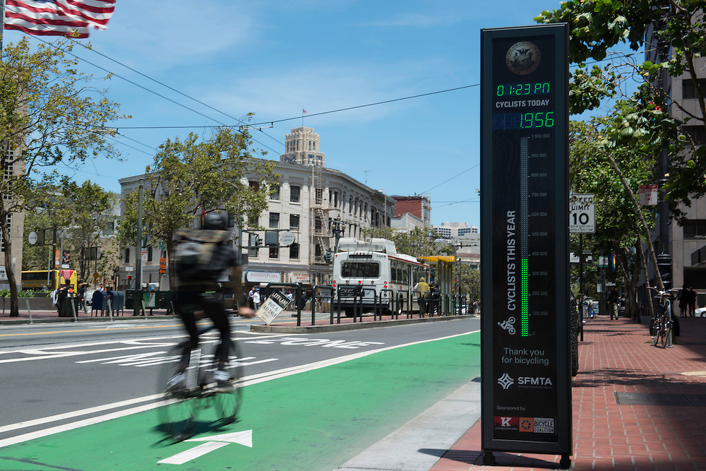 Bicyclist Passing Bike Counter on Market Street | June 24, 2014