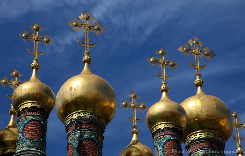 Europe, Russia, Moscow. The Upper Savior's Cathedral domes, Kremlin. Moscow.
