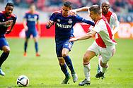 04-10-2015 VOETBAL: AJAX-PSV:AMSTERDAM<br /> Jo&euml;l Veltman van Ajax in duel met Adam Maher van PSV <br /> <br /> <br /> Foto: Geert van Erven