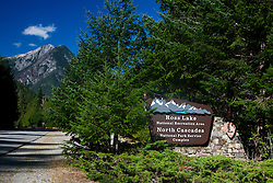Ross Lake National Recreation Area and North Cascades National Park Service Complex welcome sign, Washington, United States of America