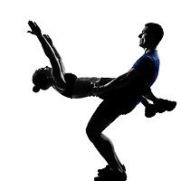couple woman man exercising workout fitness aerobics posture in silhouette studio isolated on white background