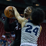 05 March 2018: San Diego State women's basketball team plays Nevada in the first round of the Mountain West Conference tournament. The Aztecs lost to the Wolfpack in overtime 95-84 at the Thomas and Mack Center on the Campus of UNLV. <br /> More game action at www.sdsuaztecphotos.com