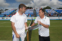 LIVERPOOL, ENGLAND - Sunday, June 19, 2011: Barry Cowan (GBR) and Mikael Pernfors (SWE) during day four of the Liverpool International Tennis Tournament at Calderstones Park. (Pic by David Rawcliffe/Propaganda)