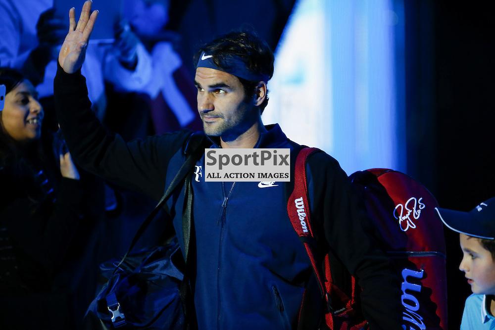 LONDON, ENGLAND - November 17:  Roger Federer before a match between Novak Djokovic and Roger Federer at the ATP World Tour Finals 2015 at the O2 Arena, London.   on November 17, 2015 in London, England. (Credit: SAM TODD | SportPix.org.uk)