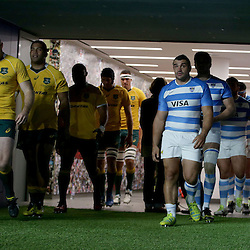 Stephen Moore of Australia and Agustin Creevy of Argentina lead out their team for the The Rugby Championship match between Argentina and Australia at Twickenham Stadium, Twickenham - 08/10/2016<br />