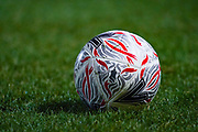 A general view of a Mitre FA Cup match ball during the The FA Cup match between Doncaster Rovers and AFC Wimbledon at the Keepmoat Stadium, Doncaster, England on 19 November 2019.