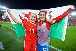 SOUTHAMPTON, ENGLAND - Friday, April 6, 2018: Wales' Charlie Estcourt and her team-mate goalkeeper Claire Skinner celebrate after a hard fought goal-less draw against England during the FIFA Women's World Cup 2019 Qualifying Round Group 1 match between England and Wales at St. Mary's Stadium. (Pic by David Rawcliffe/Propaganda)