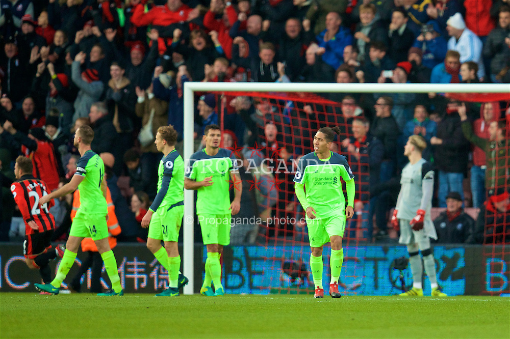 BOURNEMOUTH, ENGLAND - Sunday, December 4, 2016: Liverpool's Roberto Firmino looks dejected as AFC Bournemouth score an equalising goal to level the score at 3-3 during the FA Premier League match at Dean Court. (Pic by David Rawcliffe/Propaganda)