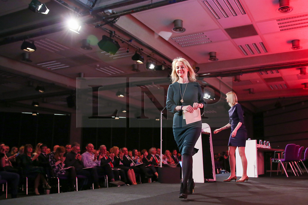 © Licensed to London News Pictures. 28/03/2019. London, UK. Liz Truss MP - Chief Secretary to the Treasury leaves after speaking at the British Chambers of Commerce (BCC) Annual Conference. British Chambers of Commerce Annual Conference brings together the UK Chamber Network including  business decision-makers, policy makers and the Chamber network aiming to emphasise the positive role that companies play in stabilising the British economy in a time of Brexit, uncertainty and change. Photo credit: Dinendra Haria/LNP