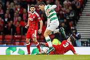 Aberdeen's Graeme Shinnie(3) gets the block on the shot from Celtic's Tomas Rogic (18) during the Betfred Scottish Cup  Final match between Aberdeen and Celtic at Hampden Park, Glasgow, United Kingdom on 27 November 2016. Photo by Craig Galloway.