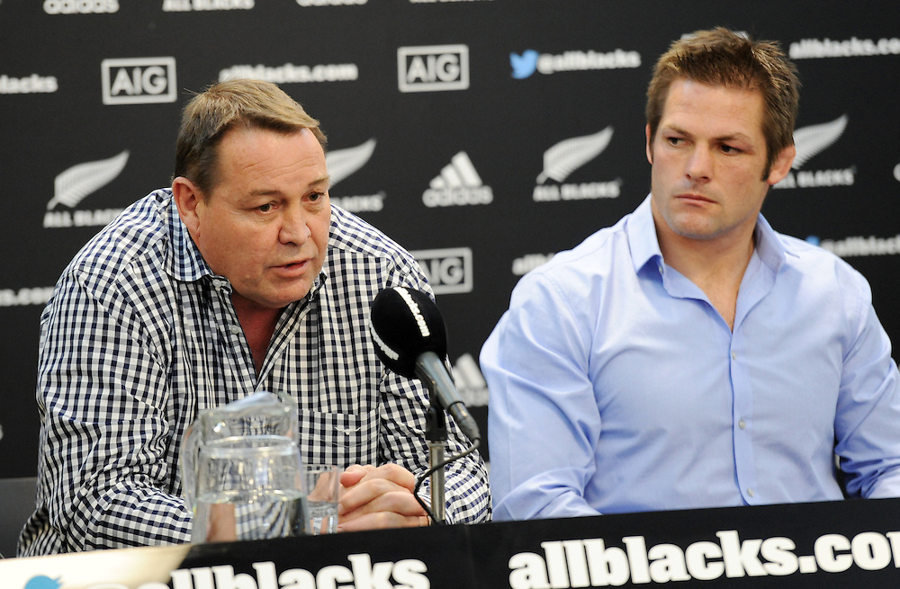 Coach Steve Hansen, left, as New Zealand All Black Captain Richie McCaw announces his retirement from rugby after leading his team to two Rugby World Cups, Wellington, New Zealand, Thursday, November 19, 2015. Credit:SNPA / Ross Setford