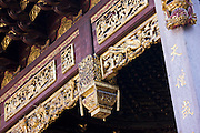 Painted wooden structure of the opera stage complex in the Yu Garden Bazaar Market, Shanghai, China