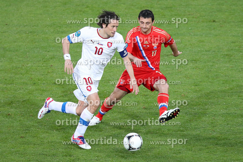08.06.2012, Staedtisches Stadion, Breslau, POL, UEFA EURO 2012, Russland vs Tschechien, Gruppe A, im Bild TOMAS ROSICKY (CZE) ALAN DZAGOJEW (RUS) // during the UEFA Euro 2012 Group A Match between Russia and Czech Republic at the Municipal Stadium, Wroclaw, Poland on 2012/06/08. EXPA Pictures © 2012, PhotoCredit: EXPA/ Newspix/ Maciej Opala..***** ATTENTION - for AUT, SLO, CRO, SRB, SUI and SWE only *****