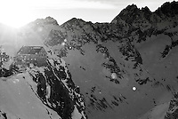 Sunrise behind the Vignettes Hut along the classic Haute Route ski traverse, Switzerland.