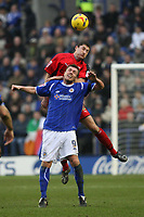 Photo: Pete Lorence.<br />Leicester City v Coventry City. Coca Cola Championship. 17/02/2007.<br />David McNamee leaps over Geoff Horsfield.