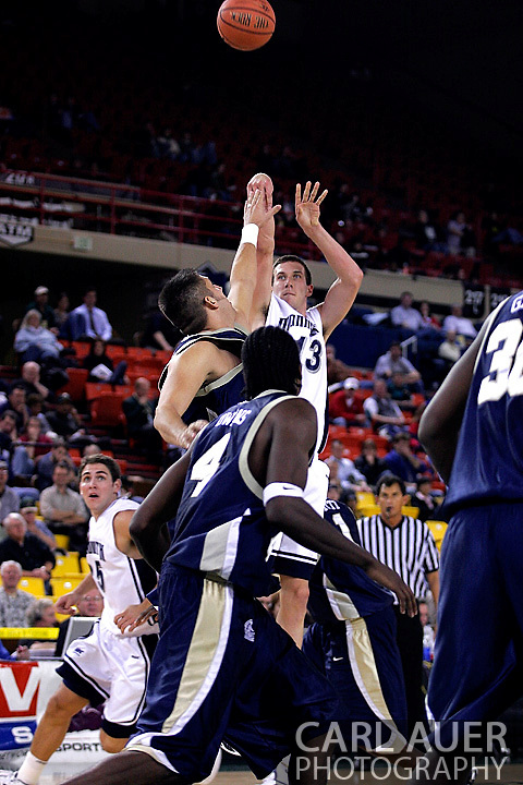 26 November 2005: MU center, Corey Hallett (13) takes a shot over ORU defenders in the Monmouth University 54-62 loss to Oral Roberts University at the Great Alaska Shootout in Anchorage, Alaska