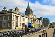 Neo-classical architecture of the Custom House building, city of Dublin, Ireland, Irish Republic