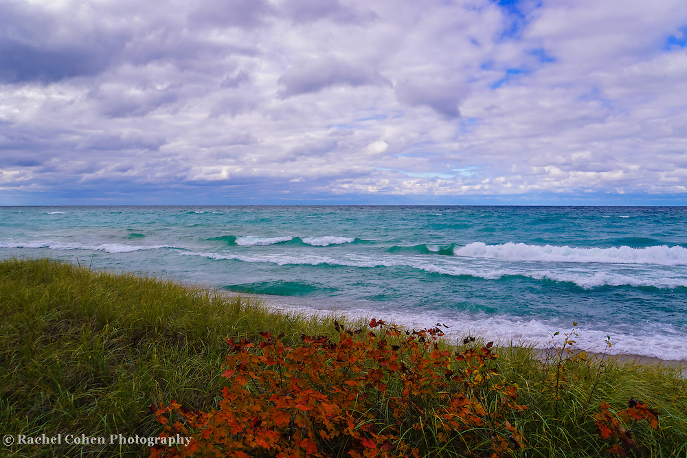 &quot;Color on Lake Superior&quot; <br /> <br /> I hope you enjoy the amazing colors of the beautiful blues and greens of the waters of Lake Superior. Feel the movement of the clouds above, and relish in the contrast of fall color against the greens of the sand grass on a windy autumn day!