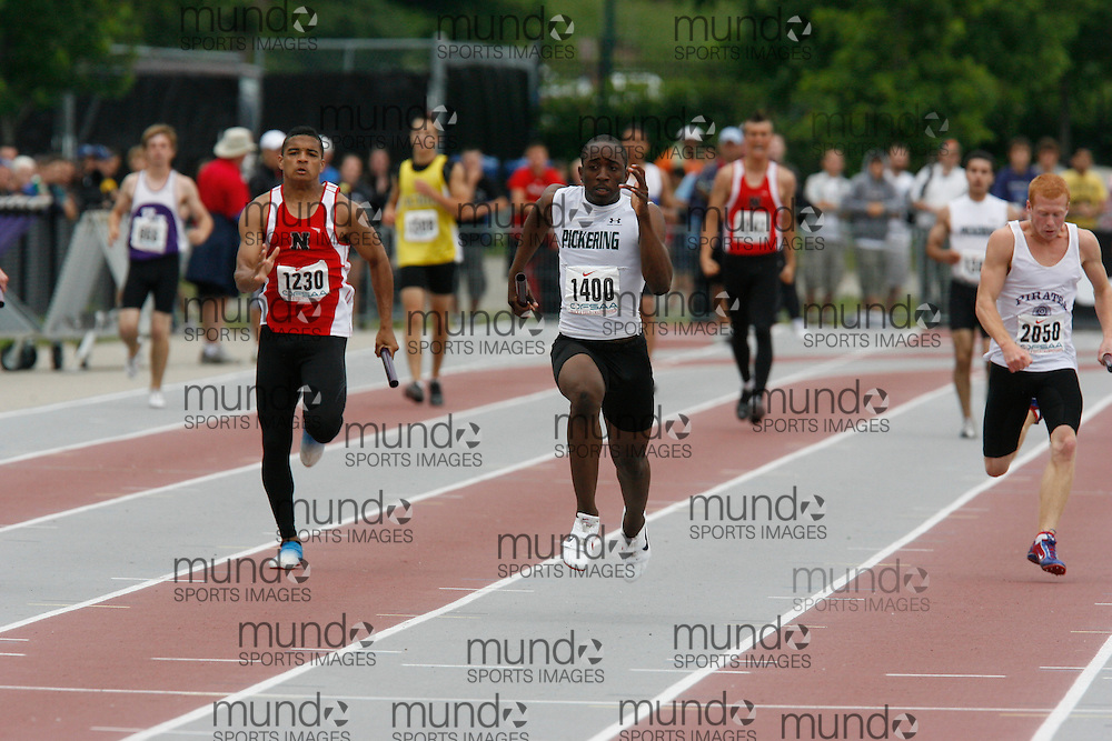 (London, Ontario}---04 June 2010) Brandon Wilson of Pickering - Ajax competing in the 4x100m final at the 2010 OFSAA Ontario High School Track and Field Championships in London, Ontario, June 04, 2010 . Photograph copyright Dave Chidley / Mundo Sport Images, 2010.