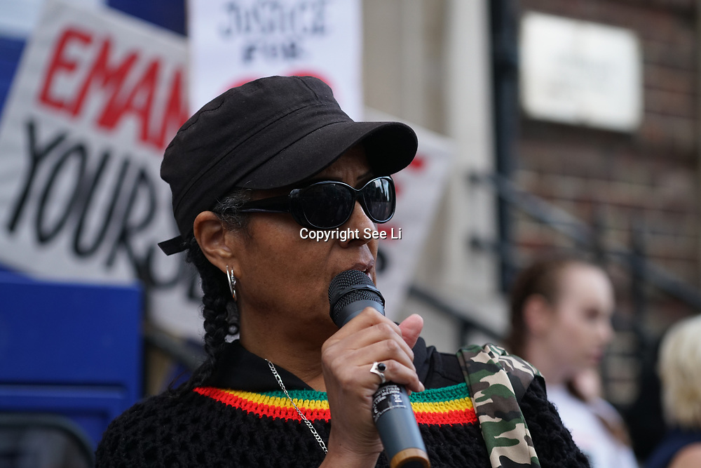 Tottenham, London, UK. 4th August 2017. Campaigners gather in north London on the 6th anniversary of the shooting of Mark Duggan by police. His death sparked the London riots in 2011 - the worst the capital has seen. Tonight's rally comes almost a week after Rashan Charles died following his arrest by officers in Dalston.