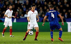 Samir Nasri of Sevilla takes on Daniel Drinkwater of Leicester City - Mandatory by-line: Robbie Stephenson/JMP - 14/03/2017 - FOOTBALL - King Power Stadium - Leicester, England - Leicester City v Sevilla - UEFA Champions League round of 16, second leg